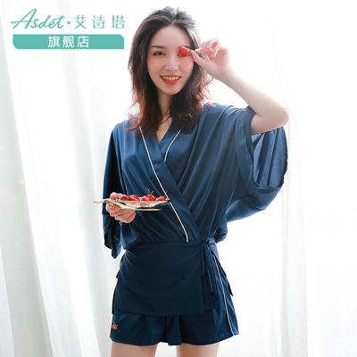 Asdet艾诗塔家居服女纺绸缎中袖短裤套装可外穿2018新款夏款睡衣