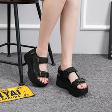 18夏季新品凉鞋头层牛皮魔术贴女鞋韩版女式凉鞋纯色