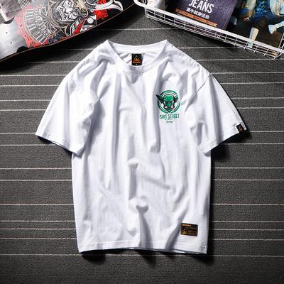 日系文艺青年短袖T恤男夏季个性恶魔印花短t余文乐短袖潮牌夏半袖