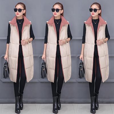 2018秋冬女新款韩版中长款两面穿修身显瘦时尚棉马甲背心坎肩棉衣