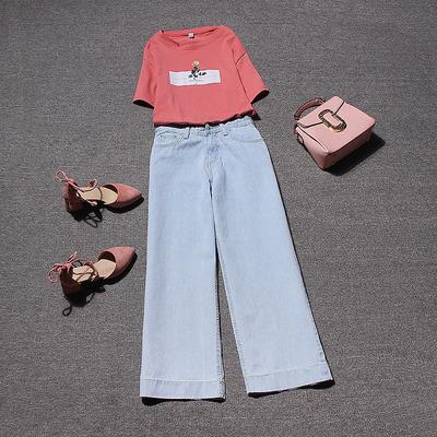 魅力与幻想欧洲站2018夏季新款 短袖T恤牛仔阔腿裤长裤两件套装女