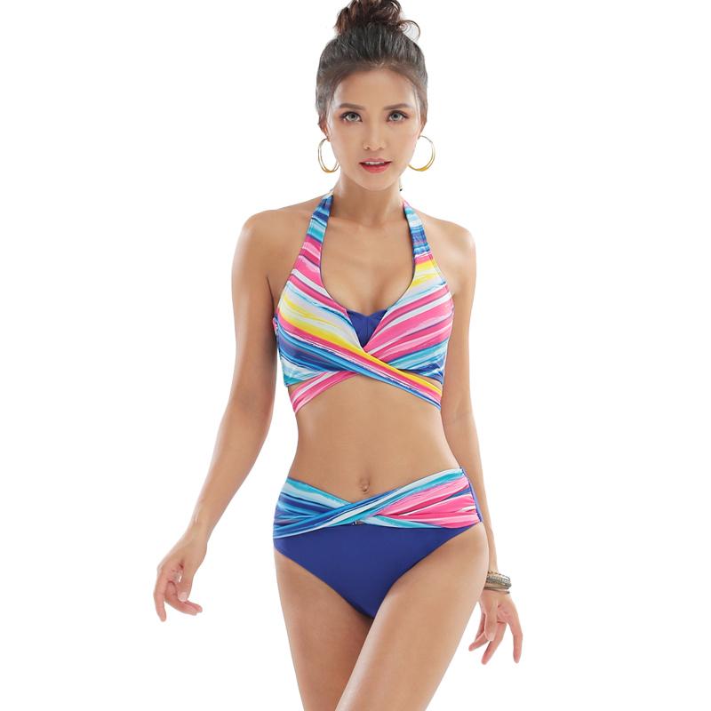 2019比基尼泳衣女三点式大胸性感聚拢沙滩度假泳装温泉游泳衣内衣