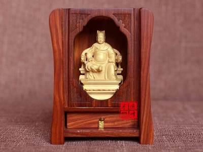 黄杨木雕广泽尊王郭圣王随身供奉佛龛小佛盒佛堂神堂木质迷你神像