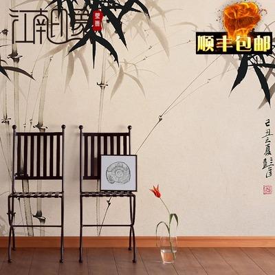 手繪中式水墨竹子藝術墻紙客廳電視背景墻壁紙定制辦公室書房壁畫2018新款