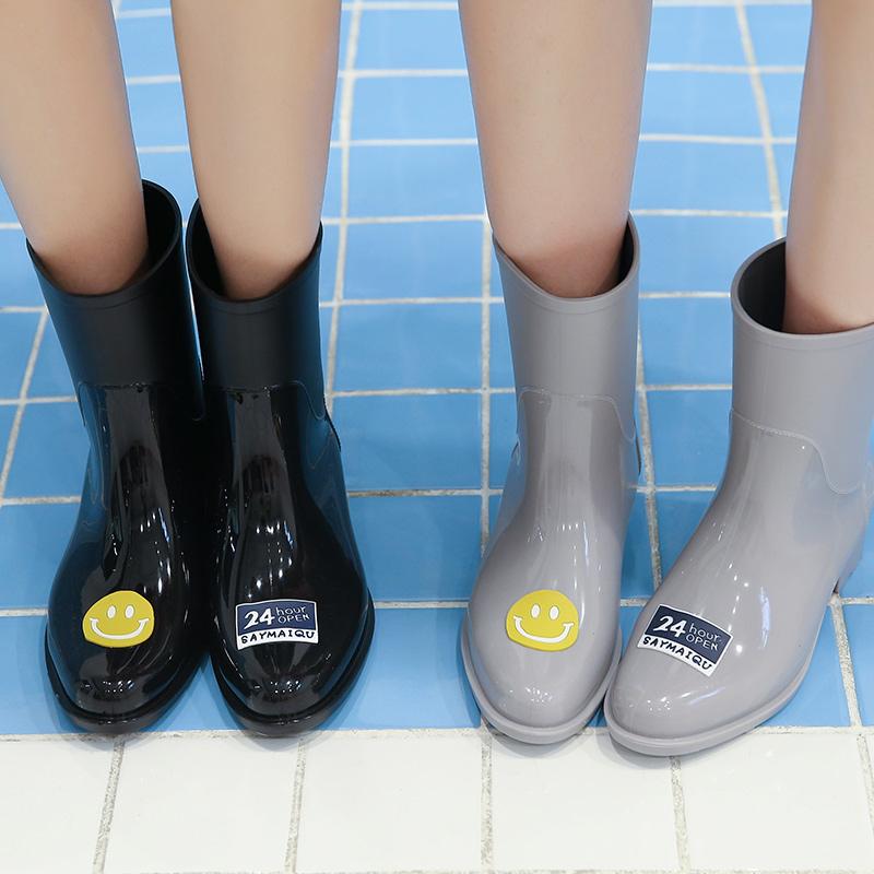 雨靴女成人防水韩国时尚款外穿果冻雨鞋可爱中筒女士水鞋防滑水靴