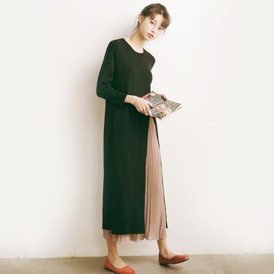 赫宿秋季女装韩版过膝长裙侧开叉百褶雪纺拼接针织假两件套连衣裙