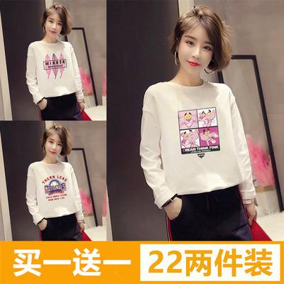 春秋季韩版外穿宽松白色t恤女学生加绒打底衫长袖原宿bf上衣服冬