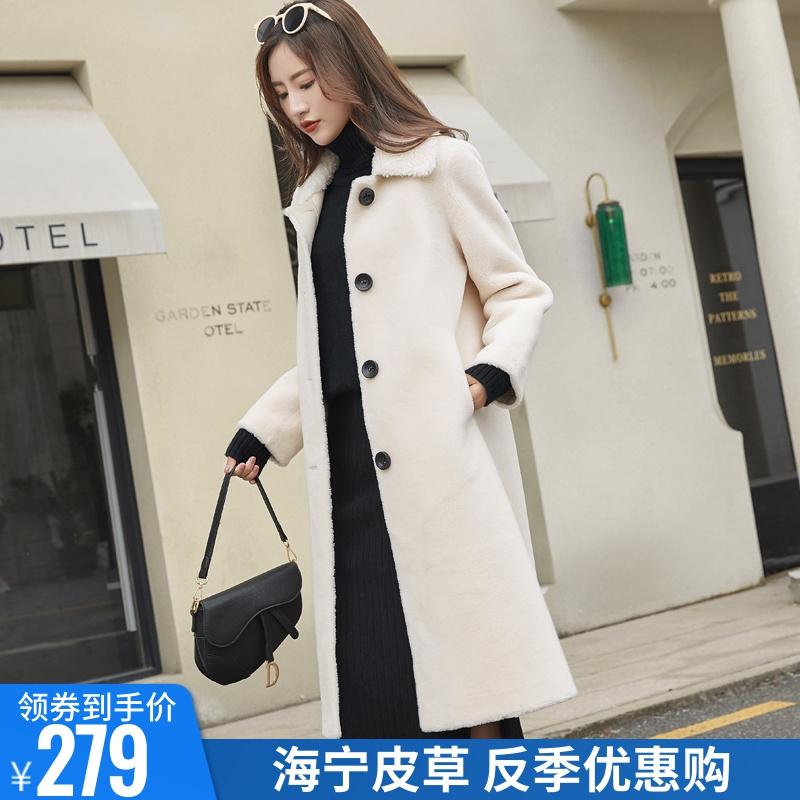 特价羊剪绒大衣女颗粒绒复合皮毛一体中长款修身羊羔毛皮草外套冬