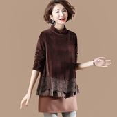 素木原创大码 金丝绒刺绣拼接套头T恤女冬半高领气质打底衫女D854