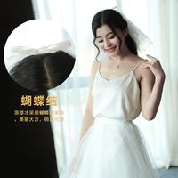 新款超短蝴蝶结新娘头纱结婚旅拍头饰超仙影楼拍照韩式婚纱配饰纱