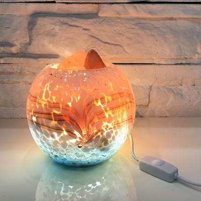 盐亿 深海湛蓝喜马拉雅玫瑰水晶盐灯 创意卧室床头灯可调光小夜灯