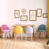 北欧实木餐椅布艺现代简约家用靠背椅奶茶咖啡店休闲洽谈美甲椅子