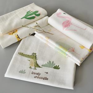 全棉纱布婴儿包巾2条装80乘80新生儿襁褓方巾柔软透气双层夏季薄