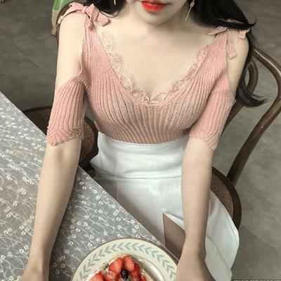 韩国代购正品 梦镜情人 气质裸粉色绑带露肩微透针织衫TP292囡sn