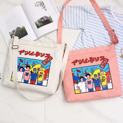 原创新款ins印花帆布包女包布袋单肩包斜跨包手提包潮流百搭小包