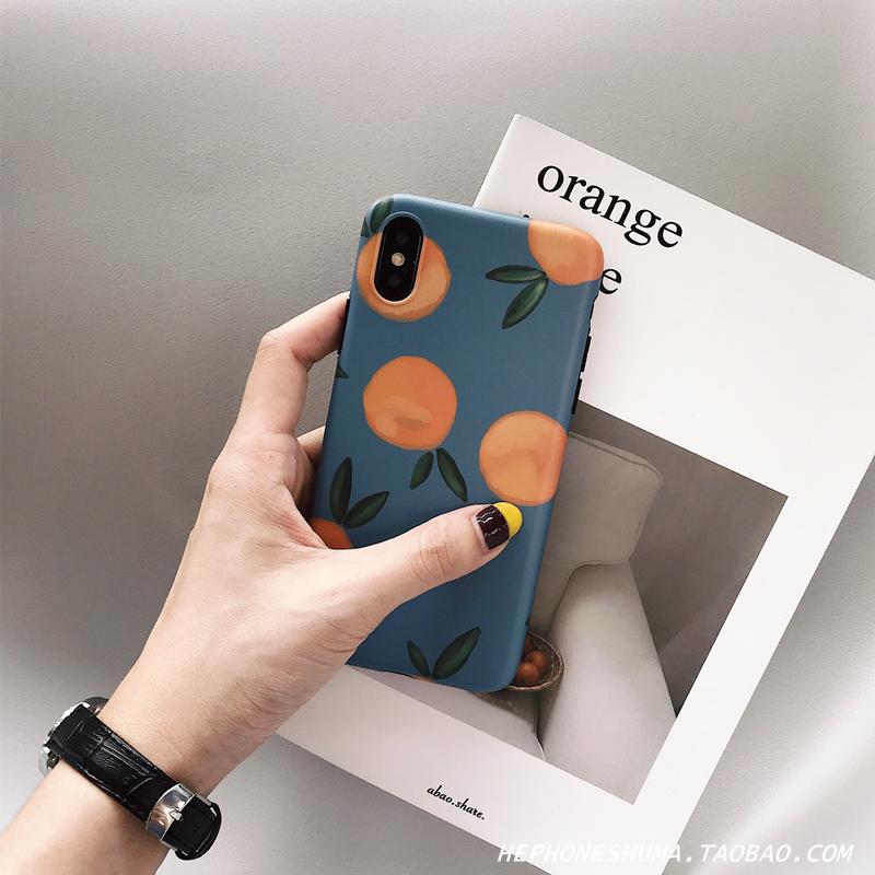 ins風復古橘子iphone xs Max/XR蘋果X手機殼7/8plus/6s藍小清新女