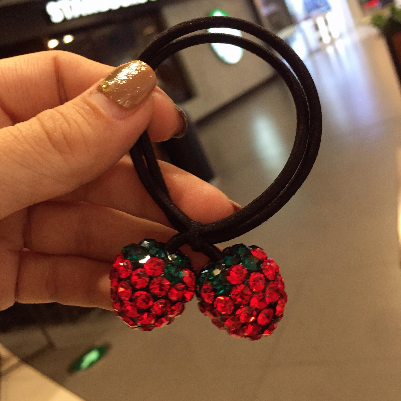韩国东大门新款发绳高弹力发圈水果闪钻头绳奢华满钻大号草莓皮筋