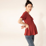 SELLYNEAR pregnant women summer coat 2019 new fashion brick red knit pit neckline tie tops