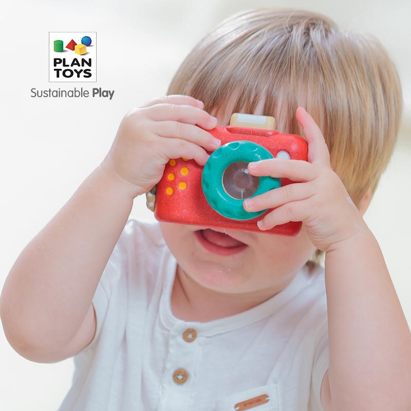 进口PlanToys儿童仿真照相机女孩男孩3岁宝宝过家家模仿拍照玩具