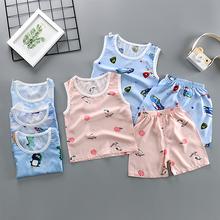 两件套衣服 男女宝宝棉绸睡衣小孩无袖 夏季儿童绵绸背心套装 薄款图片