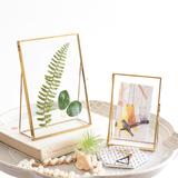 北欧简约创意现代金属玻璃相框植物标本夹家居房间装饰品摆台67寸