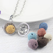 Volcanic Stone Essential Oil Aromatherapy Necklace Openwork Alloy Phase Box Open Pendant Magic Box Jewelry Pendant Simple Fashion