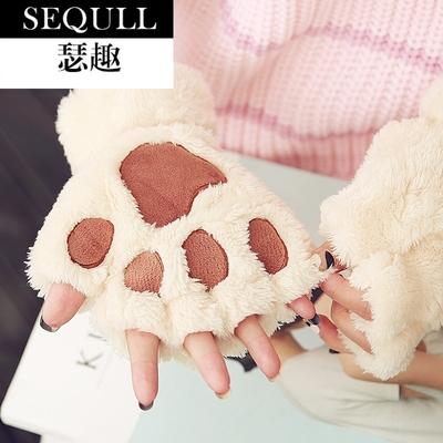 瑟趣手套女冬季学生可爱半指男女士加厚骑车保暖韩版毛绒卡通猫