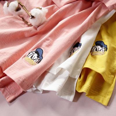 竹节棉t恤女短袖宽松学生前短后长纯棉唐老鸭卡通打底衫2019新款