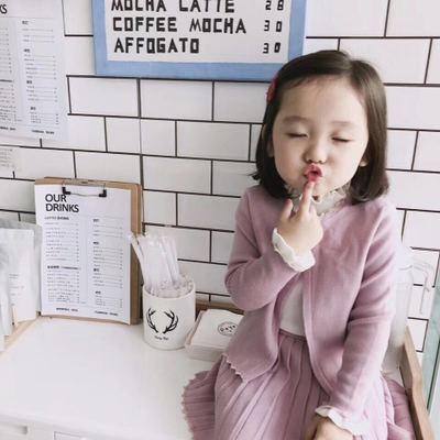 yu售18秋冬新品女童淑女风粉色木耳边针织开衫+百褶半身裙套装