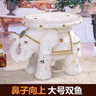 大象换鞋凳象欧式白色招财大象凳子摆件大号树脂大象坐凳乔迁礼品