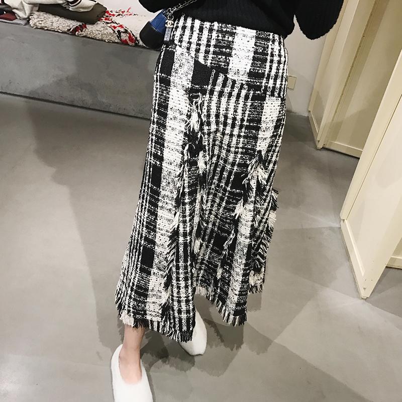 【13C】小香风格纹复古格子半身裙中长款春季不规则格子裙FR03