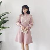 新品时尚慵懒自留女神范甜美可爱小心机修身刺绣灯笼袖针织连衣裙