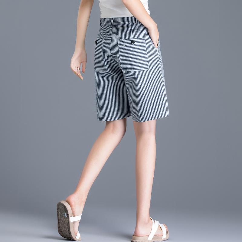 纯棉中长短裤女潮宽松高腰A字外穿五分阔腿裤女夏季直筒休闲中裤