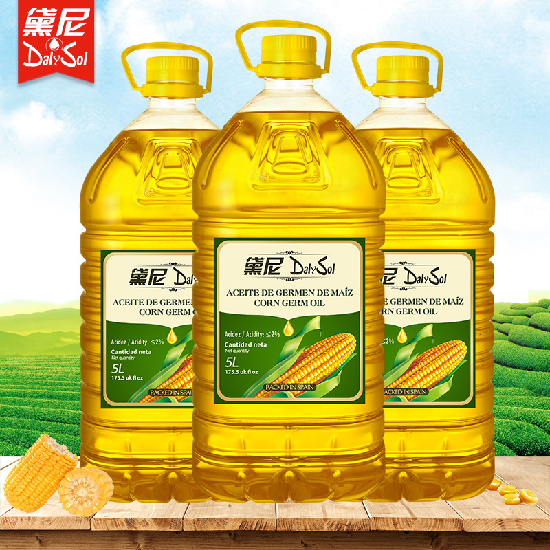 黛尼(DalySol)压榨一级玉米胚芽油5L*3非转基因西班牙原瓶进口