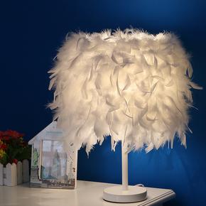 创意简约欧式卧室床头酒店精品家居按钮调光LED白色灯杆羽毛台灯