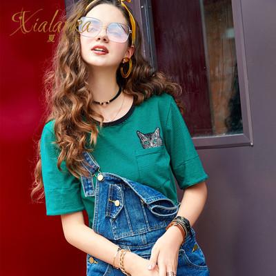 XIALANKA欧美夏装刺绣豹子条纹大码上衣宽松女士潮牌短袖t恤JJ727