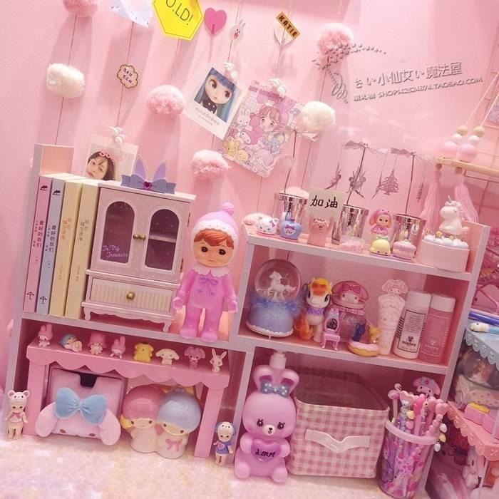 粉色少女心木质桌面书架整理架 软妹首饰化妆品收纳盒 办公文件架