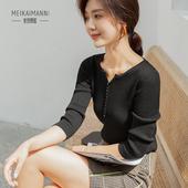 春秋新款套头衫女长袖简约V领紧身显瘦针织衫时尚舒适长袖打底衫