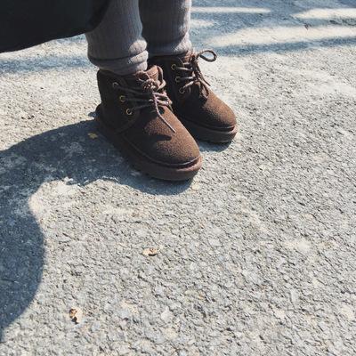 美妞之城 女童宝宝加厚加绒雪地靴沙漠靴2018冬季新款童装 侧拉链