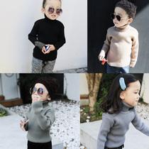 美妞之城 女童宝宝高领打底衫打底线衣 17冬季新款童装 加厚高帅