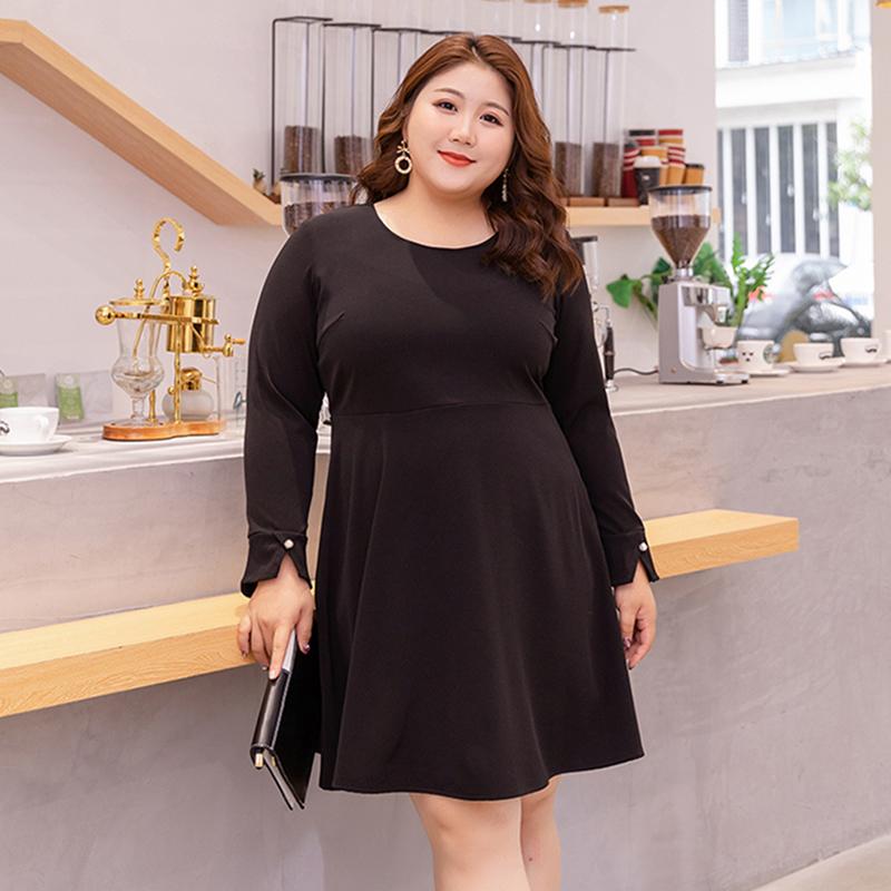甜觅特大码女装2019胖mm春装200斤法式复古浪漫针织长袖连衣裙子