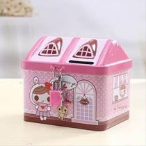 新品包邮创意可爱创意防摔带锁房子存钱罐储蓄罐送儿童学生礼品