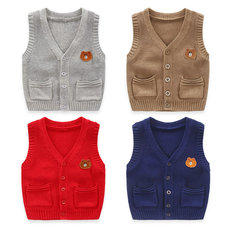 Baby cotton vest boy knit cardigan vest 2019 spring and autumn new girl sleeveless shirt sweater winter