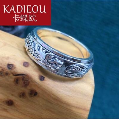 卡蝶欧(饰品)绵绵工房 个性大气龙头纯银99足银戒指男女食指拇