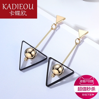 卡蝶欧饰品 几何个性三角形镀K金耳坠女 韩版时尚潮流耳饰耳环
