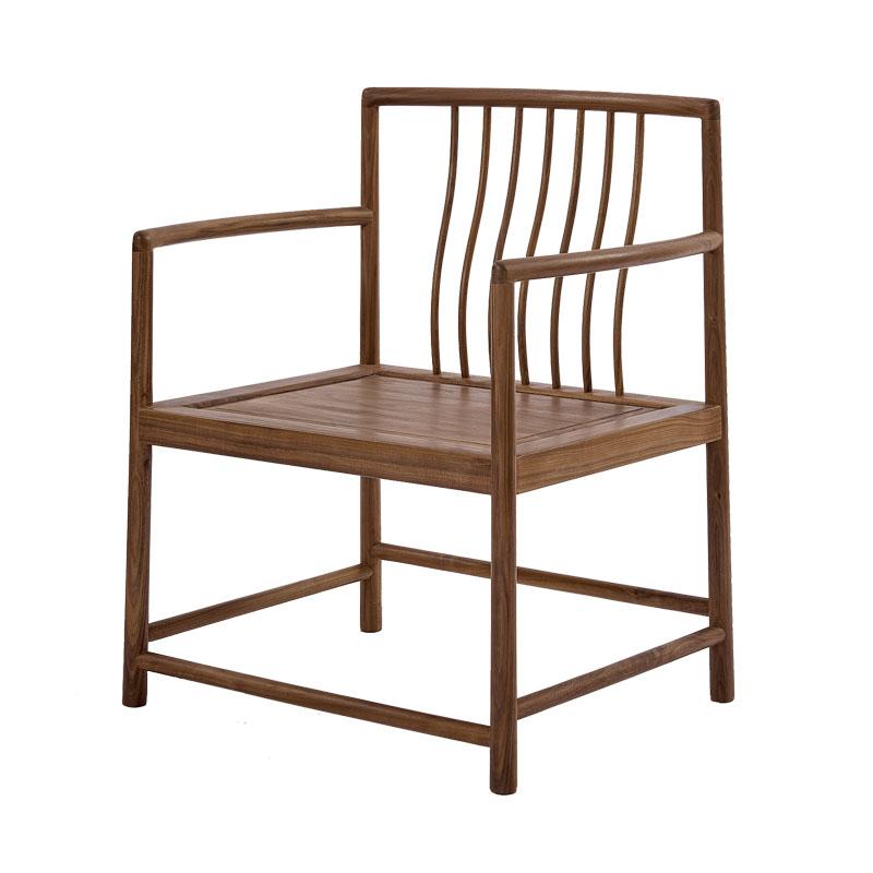 空尚黑胡桃官帽椅新中式圈椅太师椅实木简约靠背椅子家用明清仿古