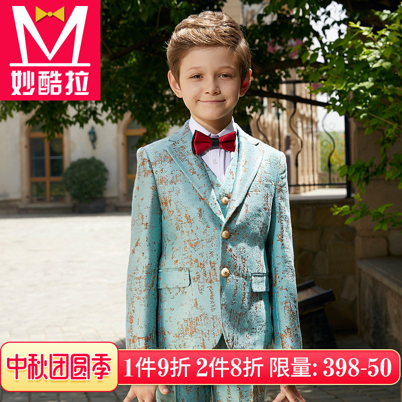 儿童礼服小西装男童西装套装复古宫廷提花走秀主持钢琴演出服花童