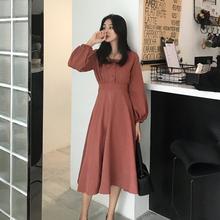 纯色A字裙 收腰长袖 新款 连衣裙方领灯笼袖 V领中长款 GAGAI2018秋装