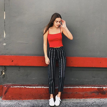 Drawing New Black-and-Gray Stripe INS Net Red Chao People Straight Slim Legs, High Waist and Nine Points Leisure Tobacco Tube Trousers