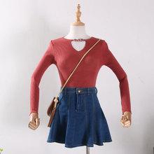 【优惠】J@07秋季新款时尚露锁骨女装修身显瘦气质甜美针织衫